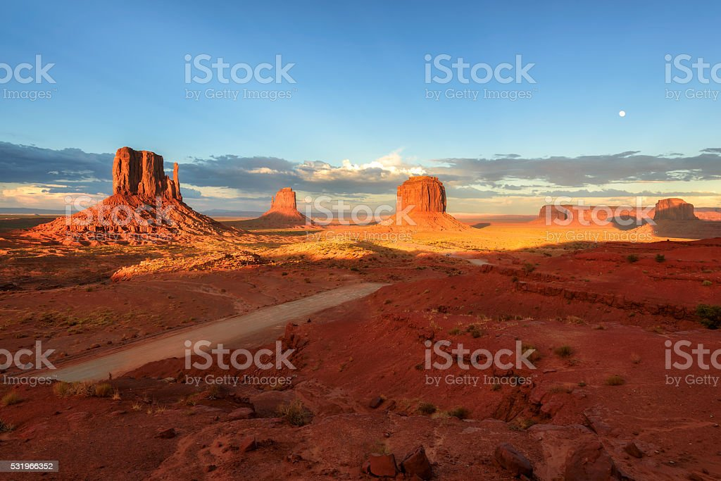 Magnificent landscape view of Monument Valley at sunset, Arizona stock photo