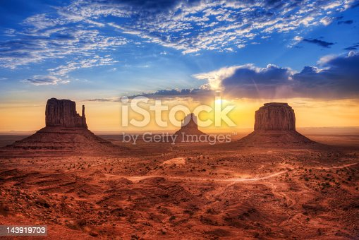 West Mitten Butte, East Mitten Butte and Merrick Butte in Monument Valley, USA.
