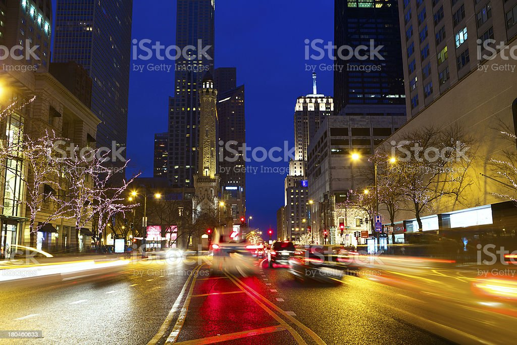 Magnificent Mile Traffic royalty-free stock photo