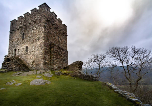 magnificent moody sunset view of the tower of the crumbling ruins of dolwyddelan in snowdonia national park - castle imagens e fotografias de stock