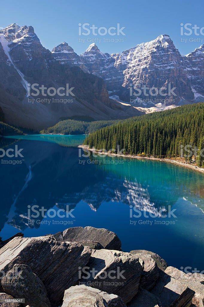 Magnificent Moraine Lake, Alberta, Canada royalty-free stock photo