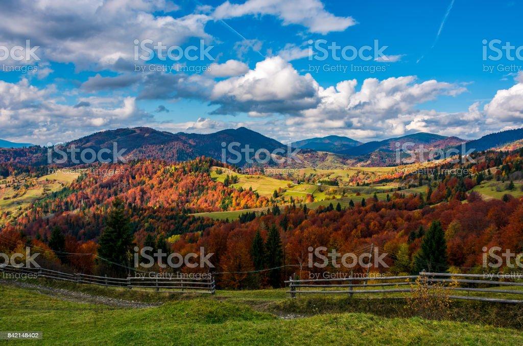 magnificent mountainous rural landscape in autumn stock photo