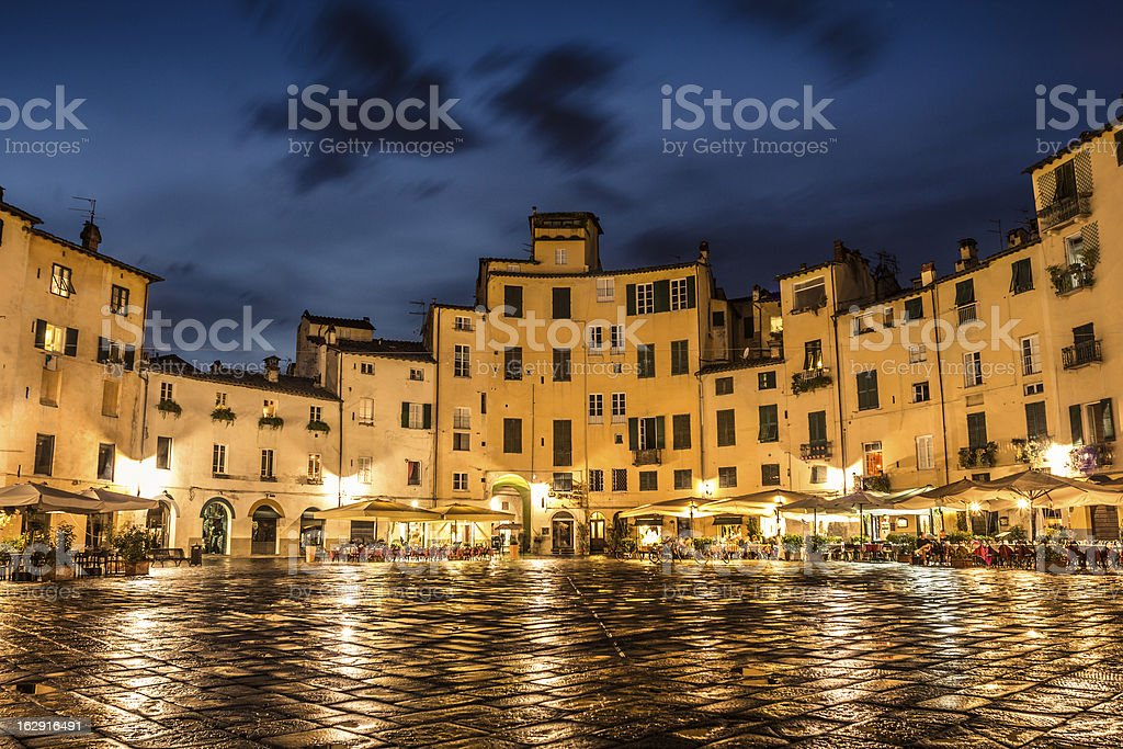 Magnificent night view of Lucca stock photo