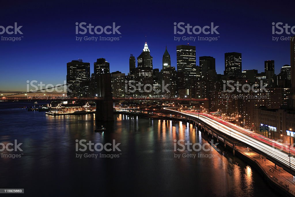 Magnificent night view of Manhattan financial district stock photo