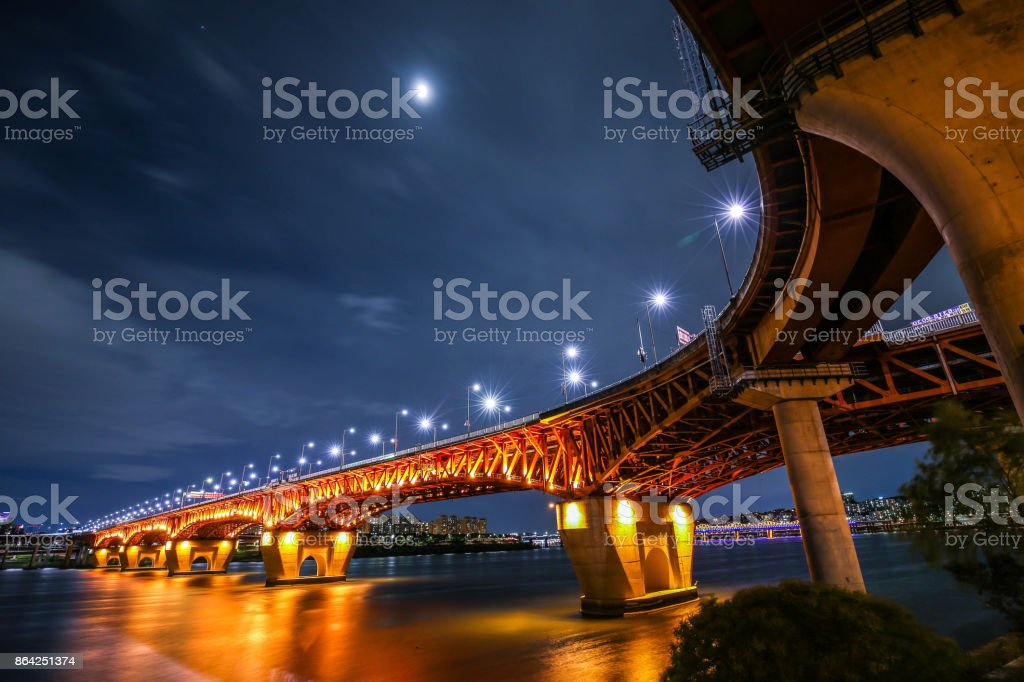 A magnificent night view of Seongsu Bridge royalty-free stock photo