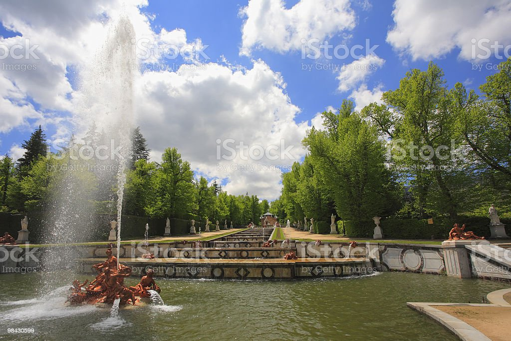 Magnificent palace and park in Spain royalty-free stock photo