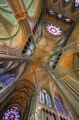 Amazing perspective of Reims Cathedral vault (38 m high) and its beautiful stained glasses. In this wonderful Roman Catholic cathedral, which celebrated its 800th anniversary in 2011, the kings of France were once crowned.