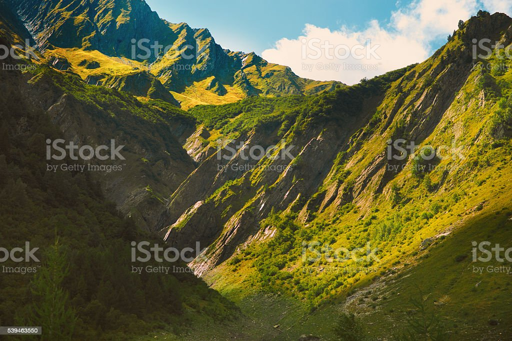 Magnificent scene in the French alps mountain stock photo