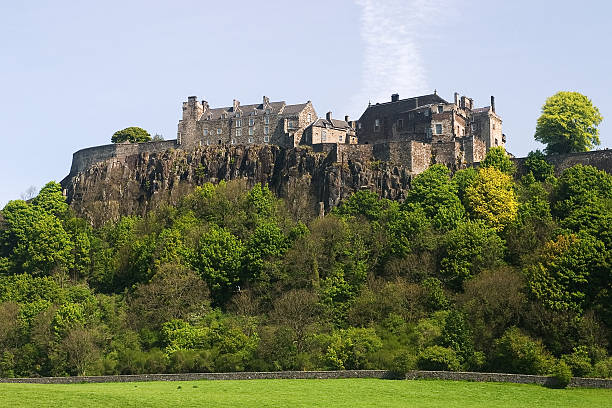 Magnificent Stirling Castle on top of hill stock photo