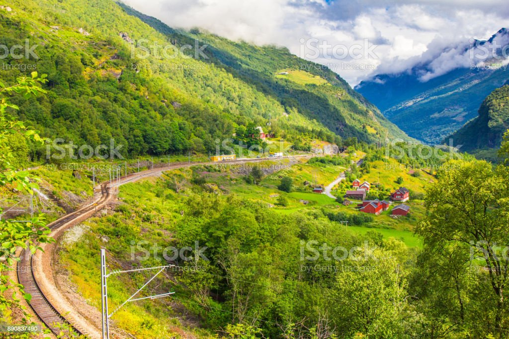 Magnificent summer views in of the railway and a Hiking road connecting the FLAM and MURDAL. Most beautiful train journeys in the world and is one of the leading tourist attractions in Norway stock photo