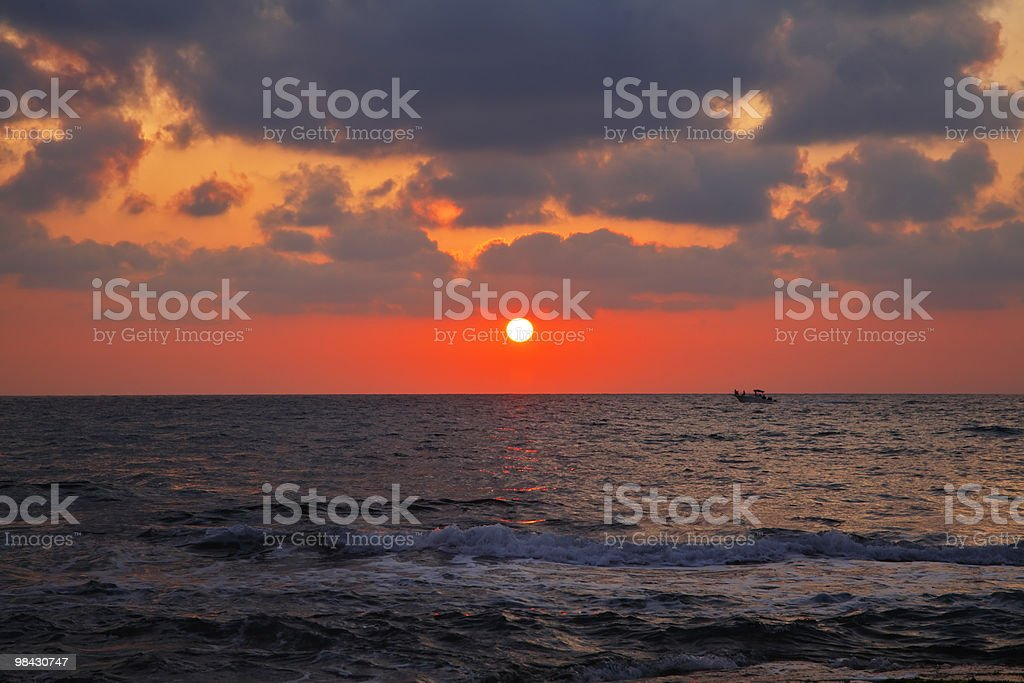 Magnificent sunset on coast royalty-free stock photo