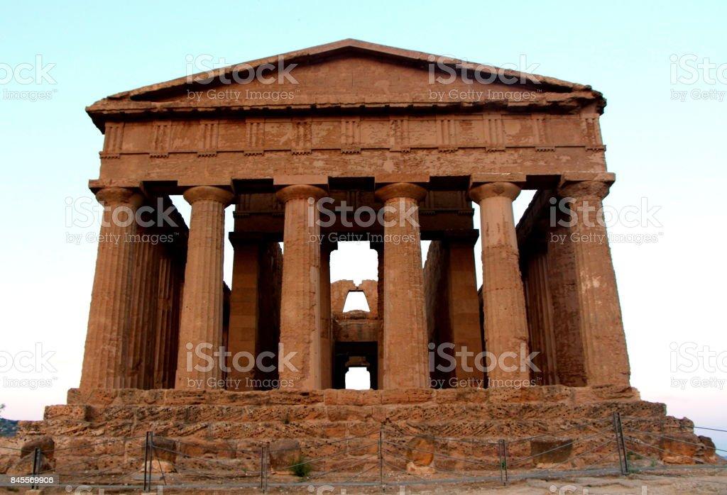 Magnificent temple in the Valle dei Templi stock photo