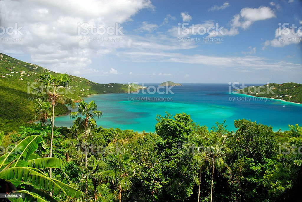 Magnificent tropical bay vista of transparent water stock photo