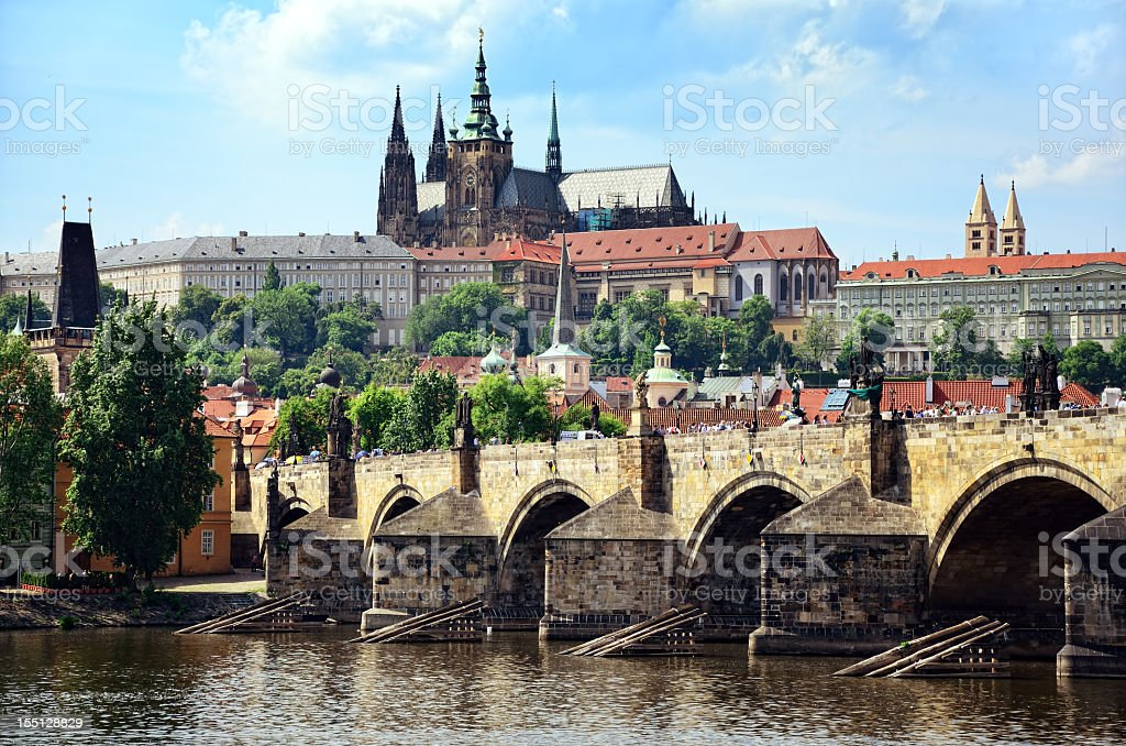 Magnificent view of ancient Charles Bridge of Prague stock photo