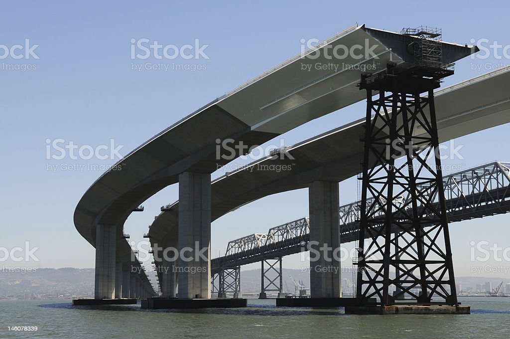 Magnificent view of bay bridge under construction stock photo