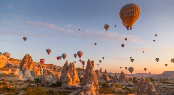 Magnificent view of daily morning hot air balloon flights in Cappadocia stock photo