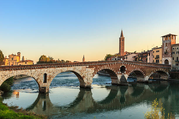 Magnificent view of Ponte Pietra of Verona at sunrise stock photo