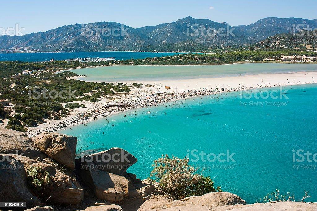 Magnificent view on famous beach Villasimius in Sardinia, Italy. stock photo