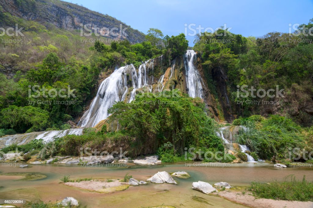 Magnificent waterfall in bottom of jungle canyon stock photo