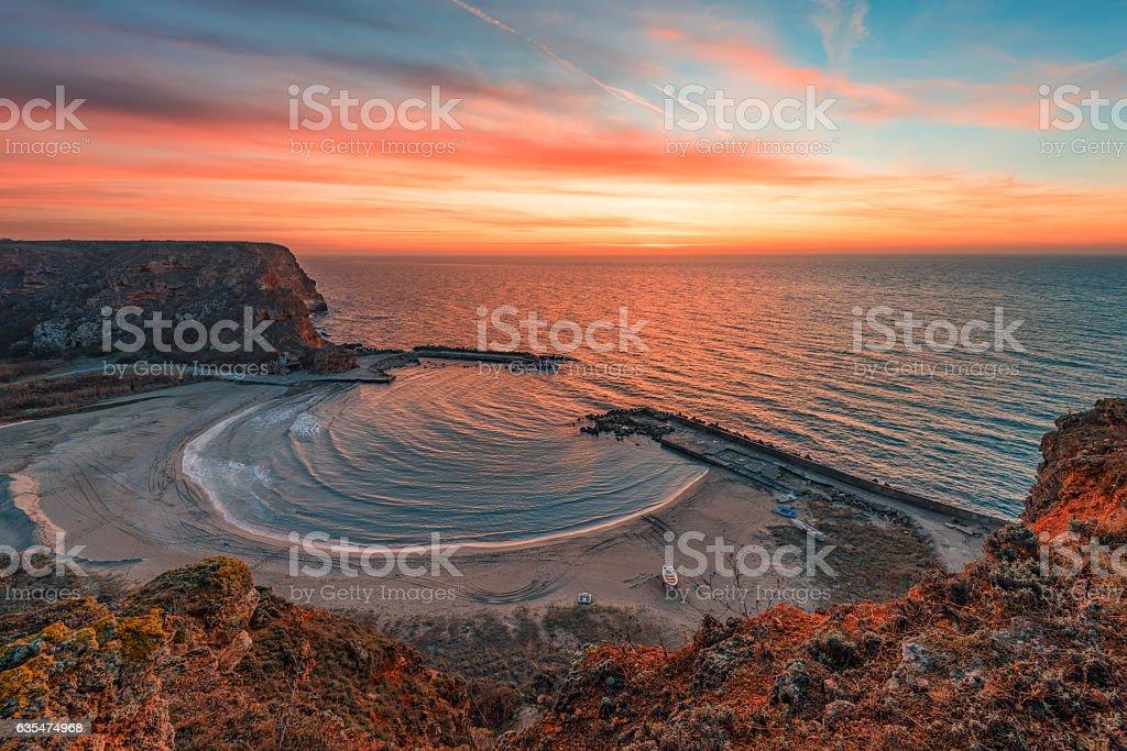 Magnificent winter sunrise at Bolata Bay, Varna province, Bulgaria stock photo