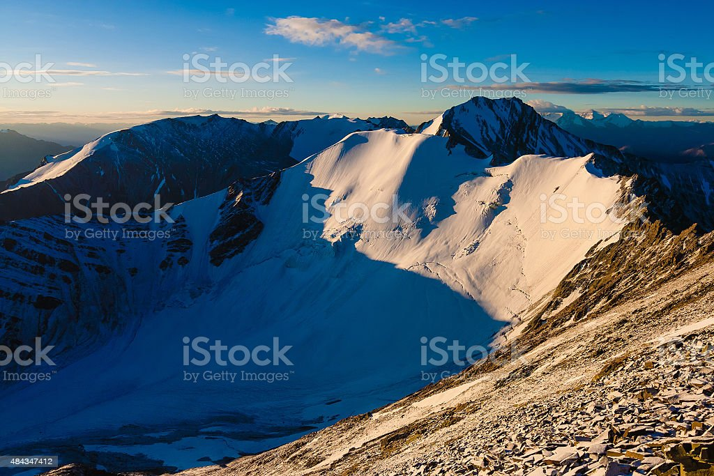 Magnificient Sunrise on Stok Kangri Mountain, Ladakh, Himalayas stock photo