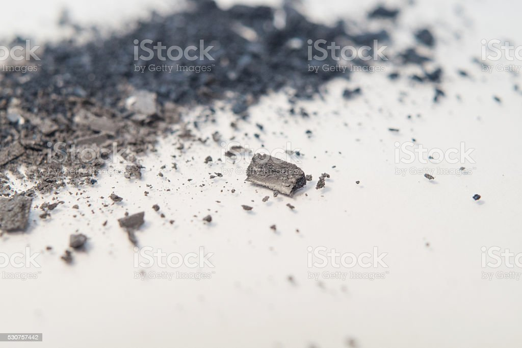 magnified eyeshadow pigment grey powder makeup stock photo