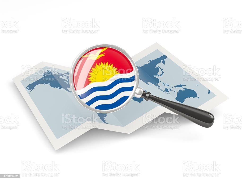 Magnified flag of kiribati with map stock photo