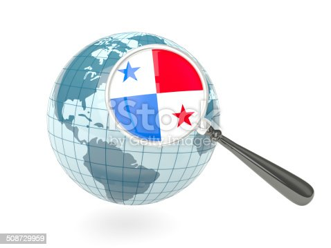istock Magnified flag of panama with blue globe 508729959