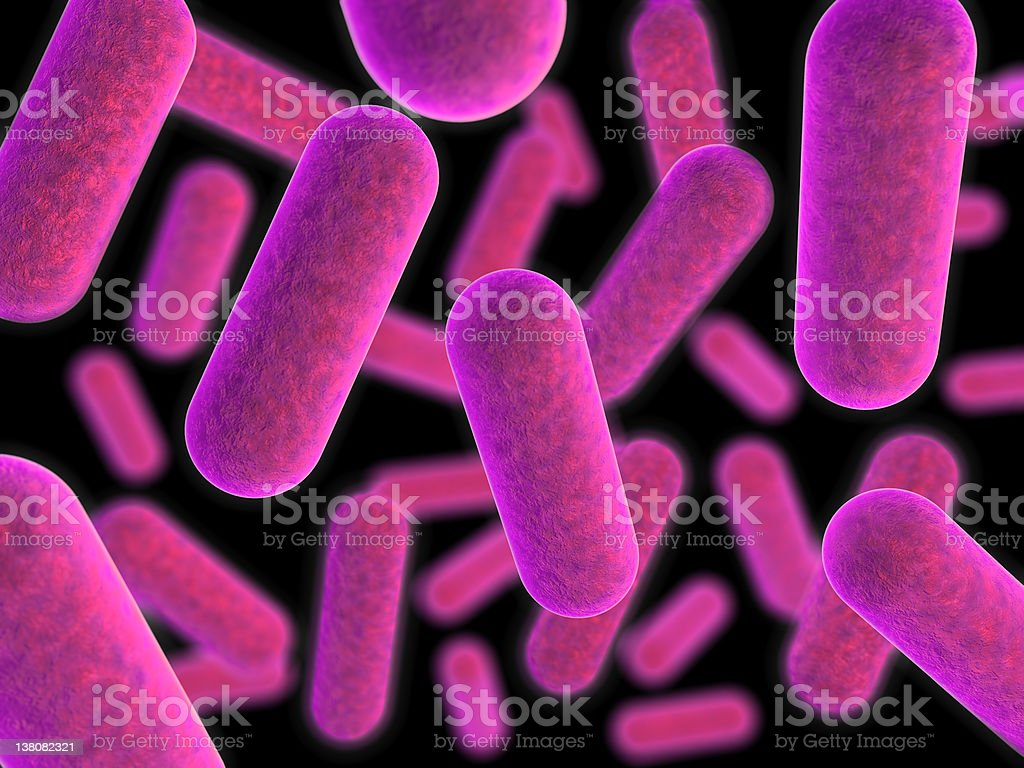 Magnified view of purple tinted bacteria stock photo