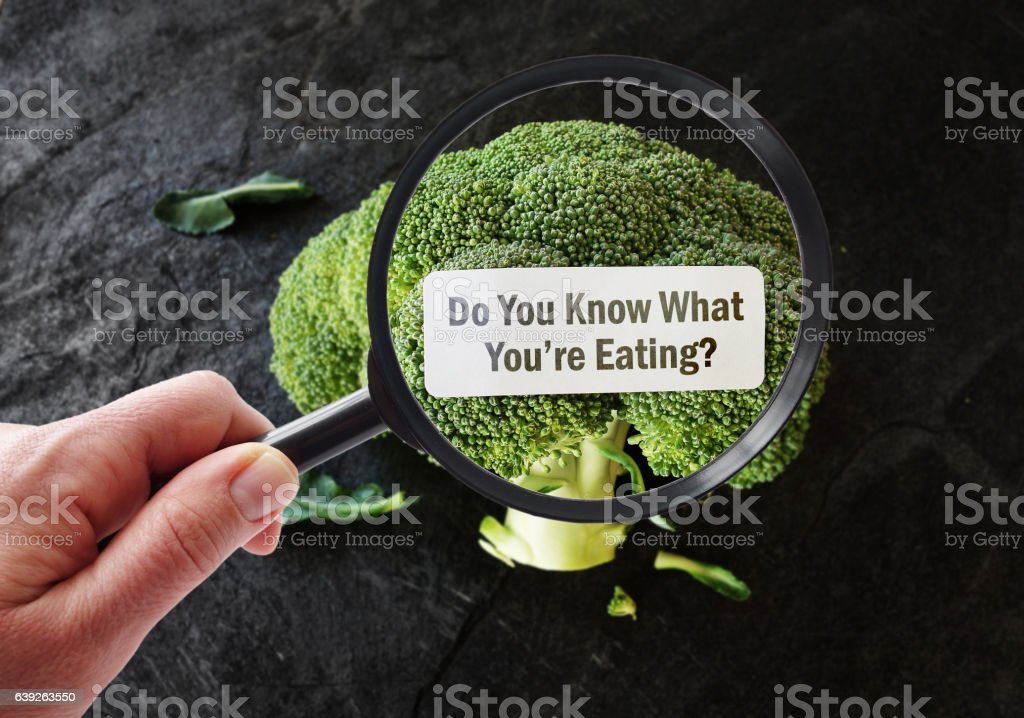 Magnified What You're Eating food label stock photo