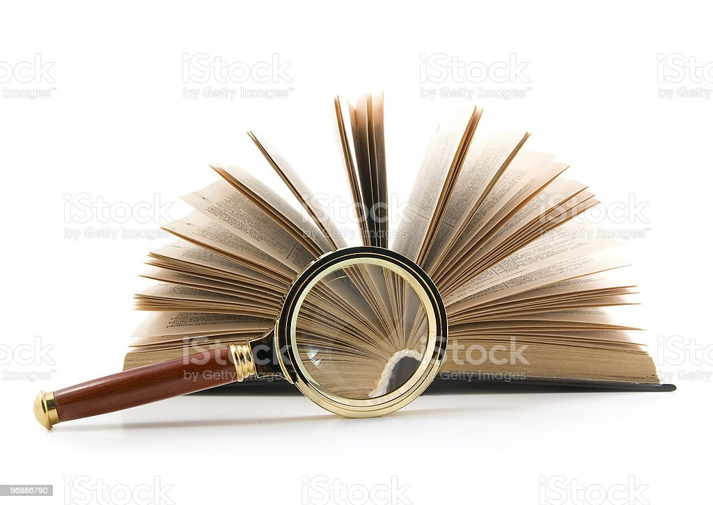 magnifier and book royalty-free stock photo