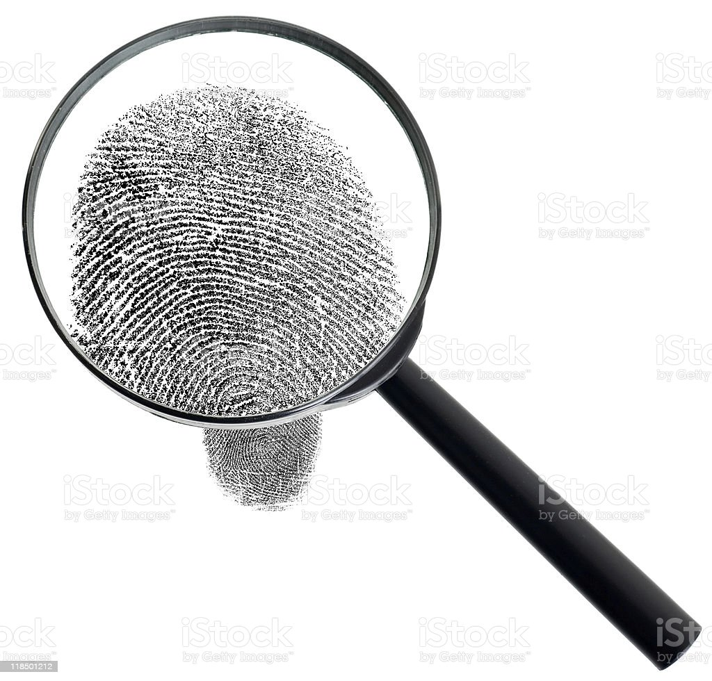 Magnifier and fingerprint isolated on white background royalty-free stock photo