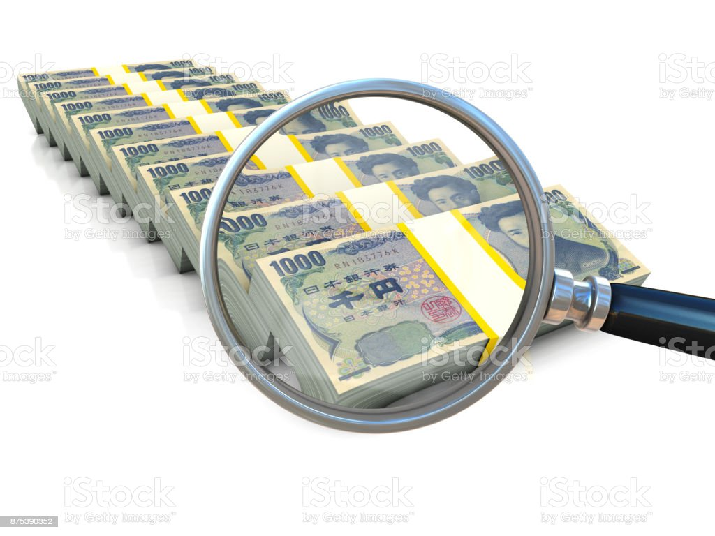 Magnifier and money on white background stock photo