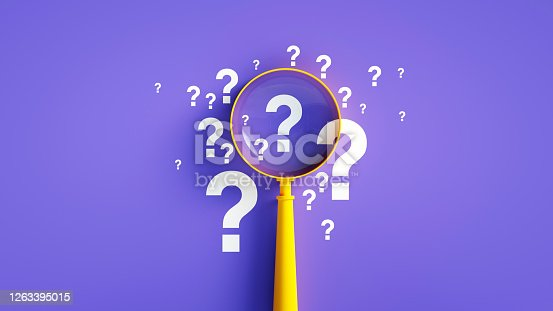 Magnifier And Question Mark On Purple Background