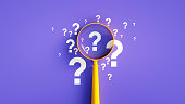 istock Magnifier And Question Mark On Purple Background 1263395015