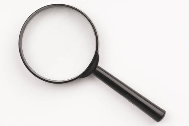 magnifier glass on a white background stock photo