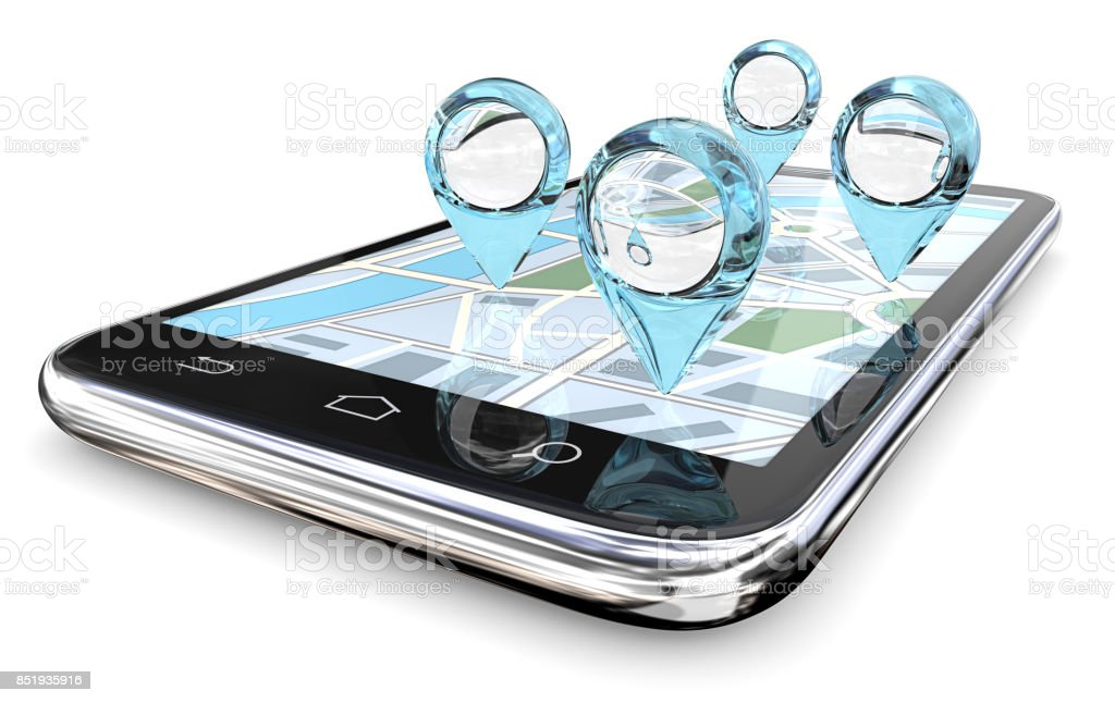 Magnifier GPS Search. GPS pointers of abstract Blue Glass on Smartphone Screen Map. 3D render. Abstract Stock Photo