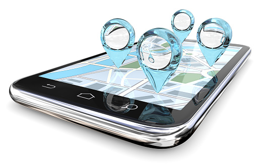 Magnifier Gps Search Stock Photo - Download Image Now