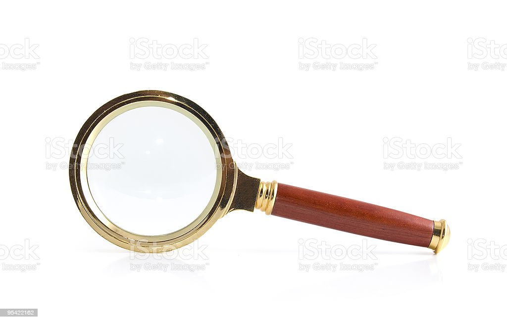 Magnifier on a white royalty-free stock photo
