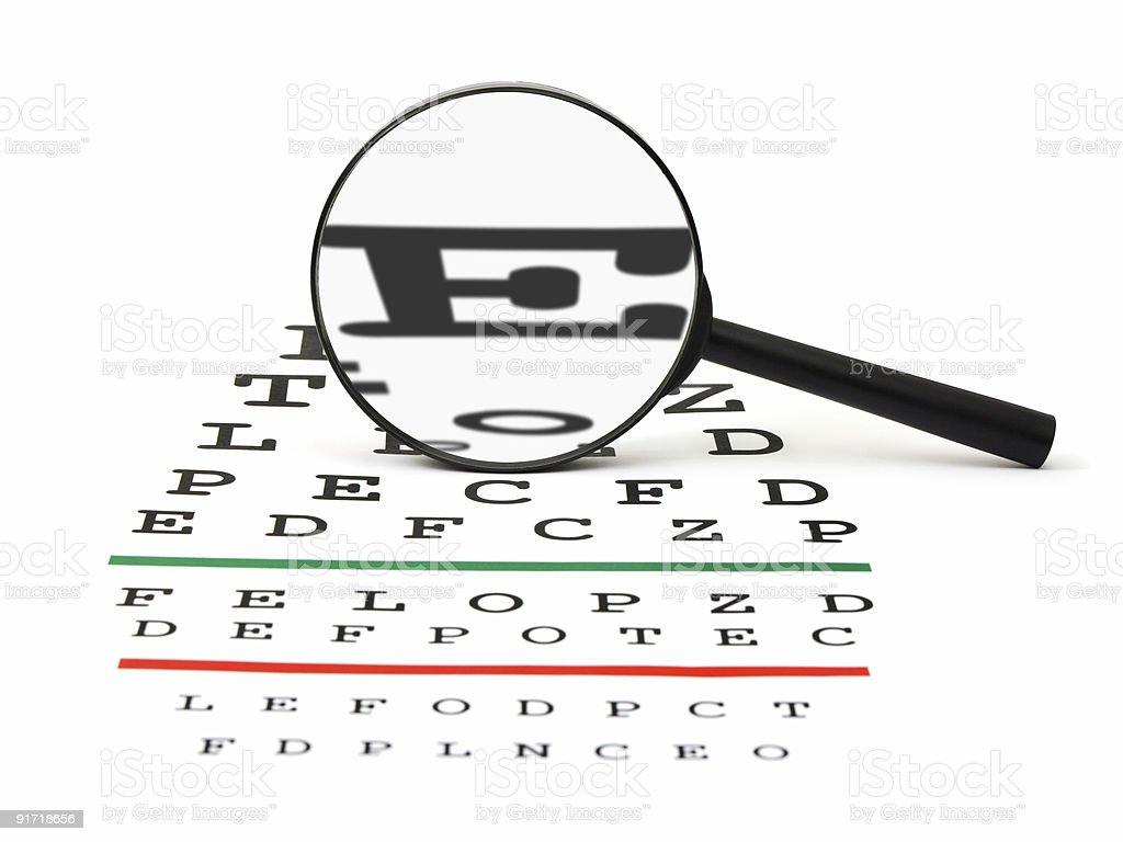 Magnifier on eyesight test chart royalty-free stock photo