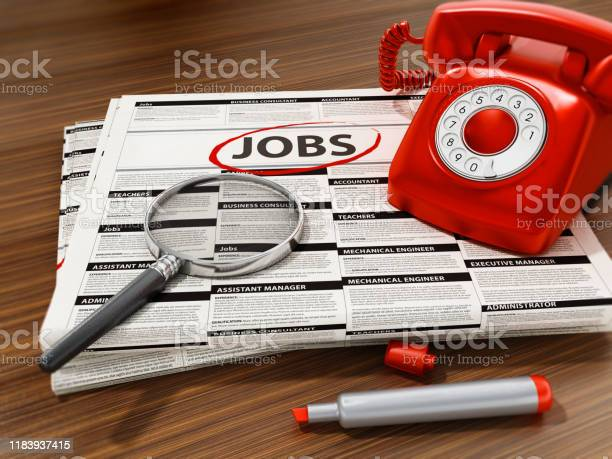 Magnifier on job word on the newspaper rotary phone marker and on picture id1183937415?b=1&k=6&m=1183937415&s=612x612&h=yyuzynclzf1hhr 4vsk0xtn3tjunk13a1vyychz2lxw=
