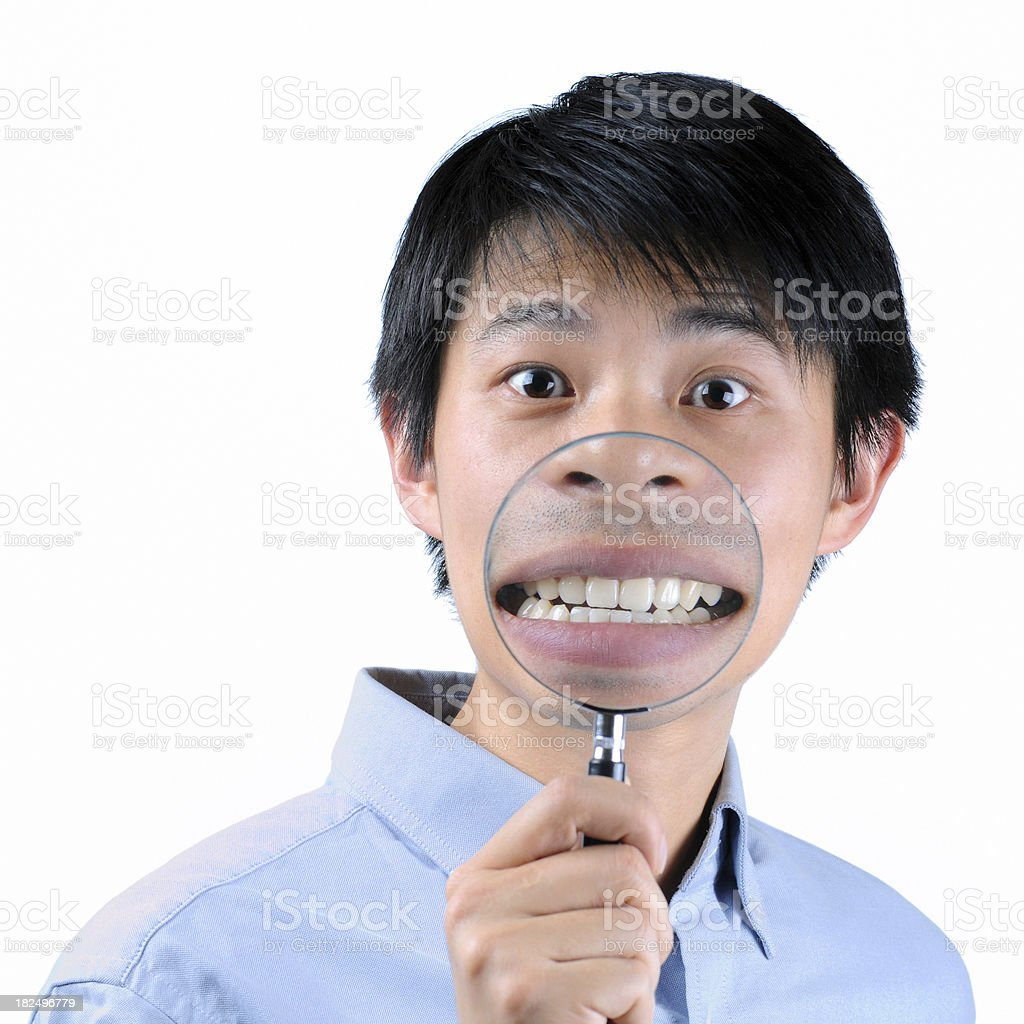 Magnifier On Mouth - Large royalty-free stock photo
