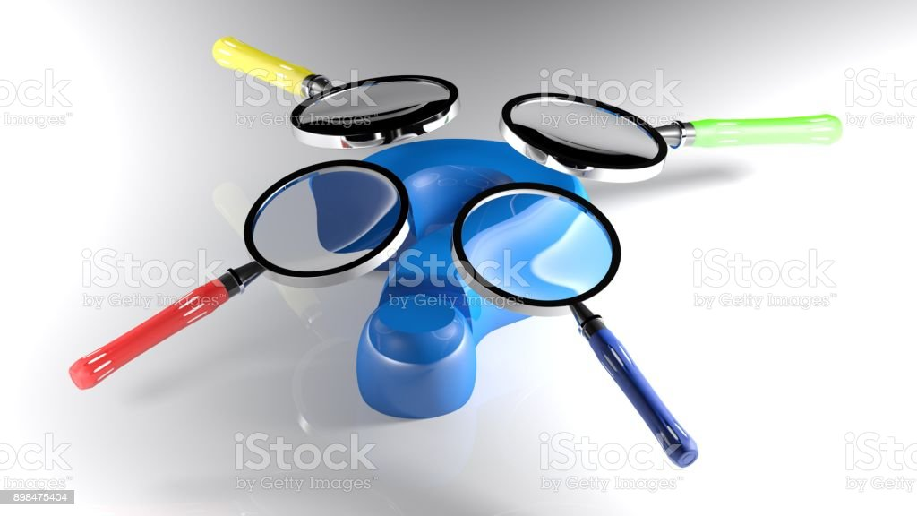 Magnifiers on a blue 3D question mark - 3D rendering stock photo