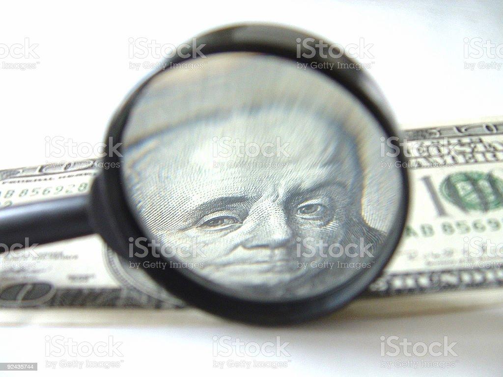 Magnifyed 100 bucks royalty-free stock photo