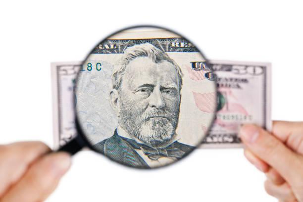 Vergrößern einer fünfzig Dollar Banknote, Vorderseite – Foto
