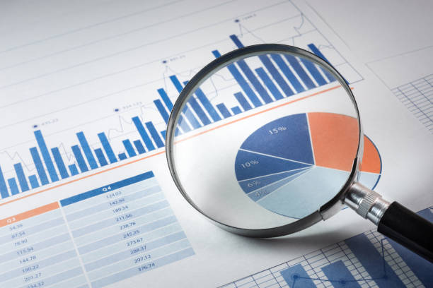 magnifying glass and business growth graph / financial - market research stock photos and pictures
