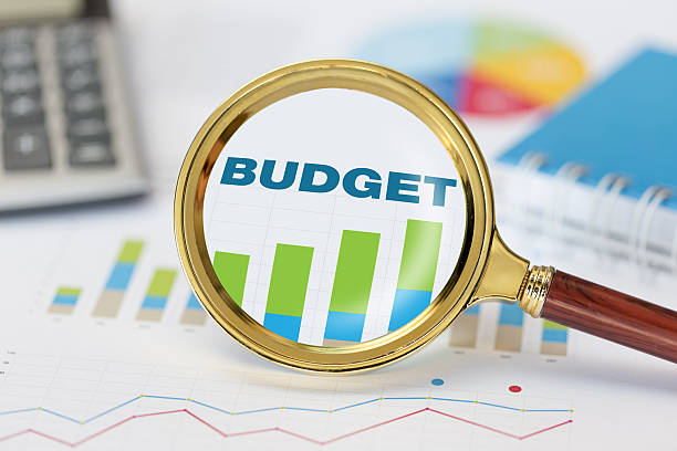 Magnifying glass and calculator on budget graph – Foto