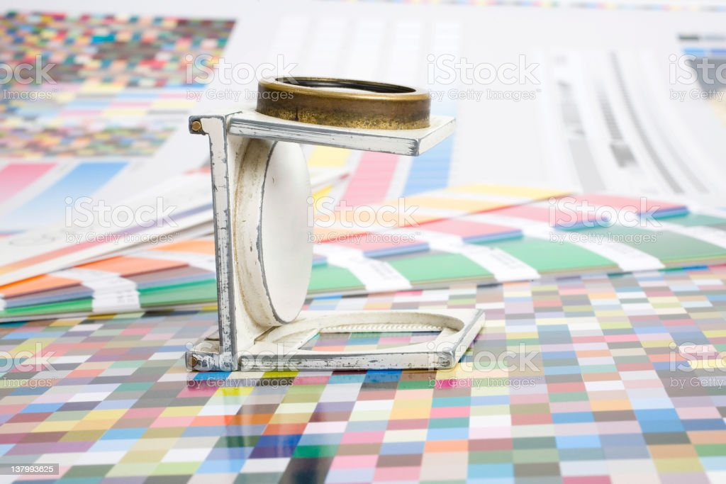 Magnifying Glass and Color guide stock photo