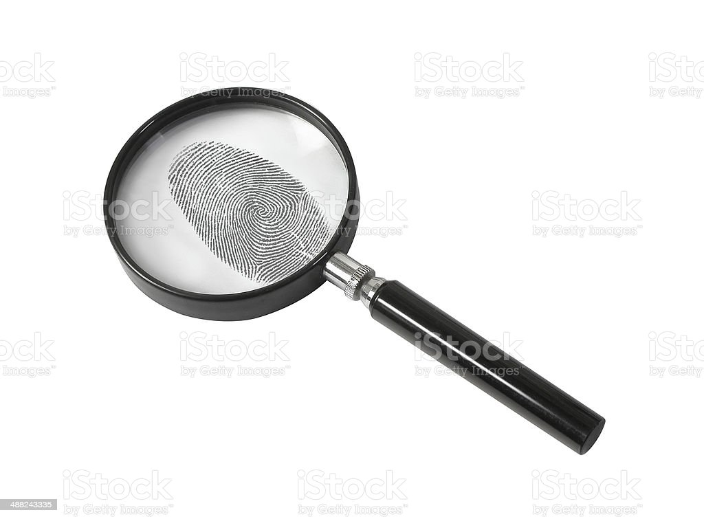 Magnifying glass and fingerprint isolated on white stock photo