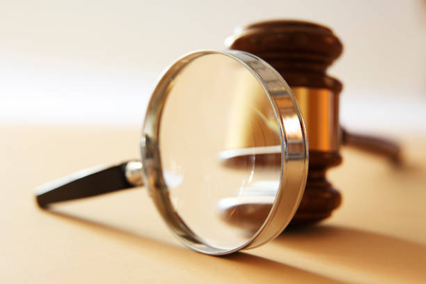 Magnifying Glass And Gavel stock photo